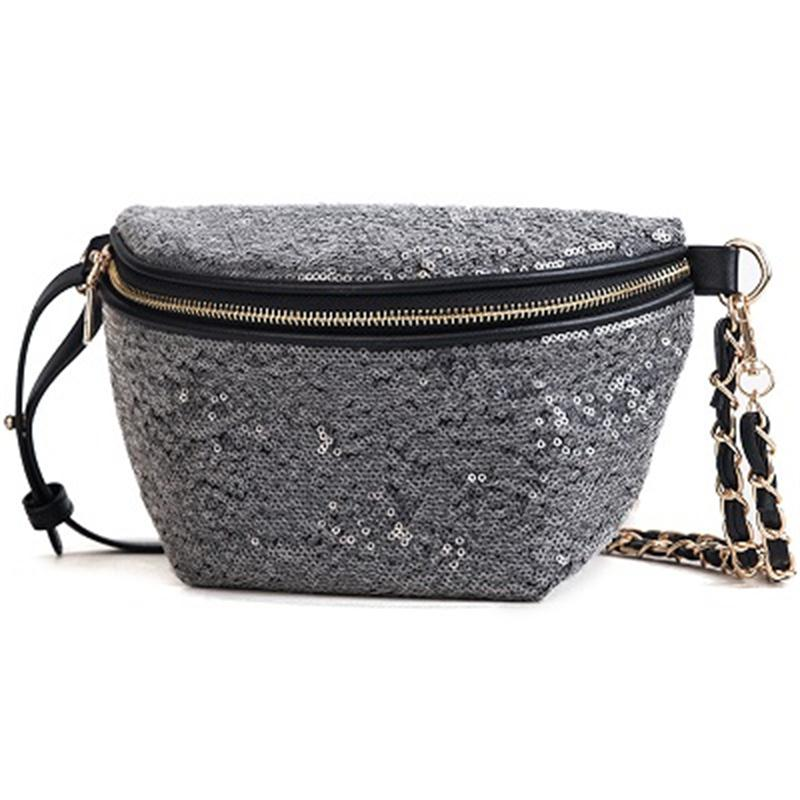 Miyahouse Multipurpose Female's Waist Packs Bling Sequins Women Chest Bag With Chain Hot Sale Ladies Fashion Shoulder Bag