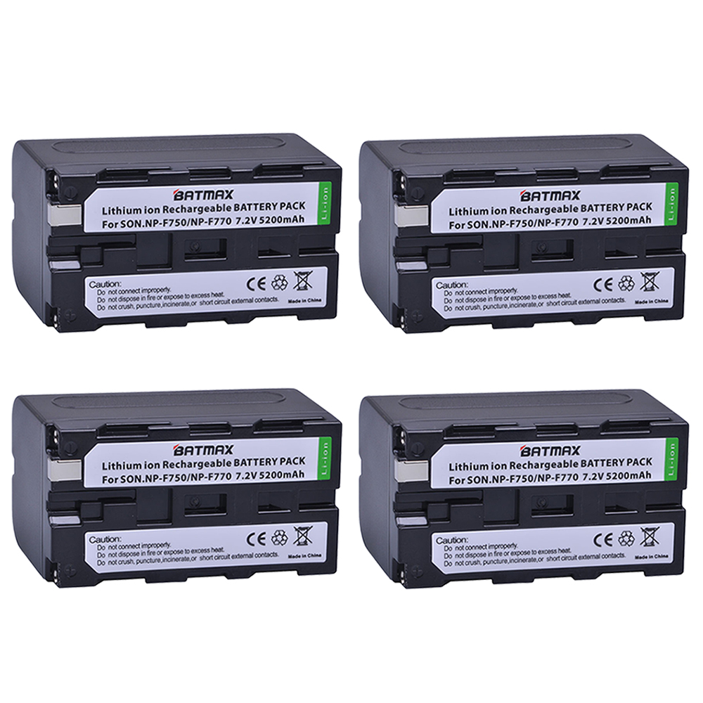 Batmax 4pack Bateria NP-F750 NP-F770 NP F750 F770 Batteries for Sony NP F970 F960 ccd-tr917 ccd-tr940 ccd-trv101 ccd-trv215 gakaki 10pcs wholesale1 bnc female connector to 2 female bnc coupler splitter plug adapter 3 way video adapter monito