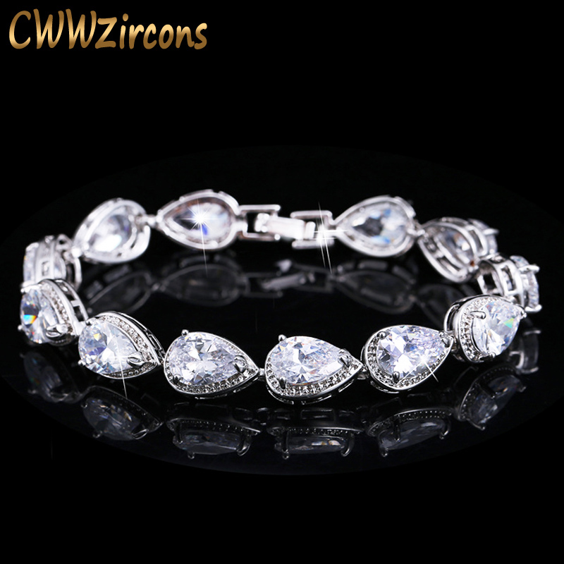 CWWZircons 2019 Fashion Womens Accessories Luxury Cubic Zirconia Water Drop CZ Stone Bracelet for Bridal Wedding Jewelry CB135