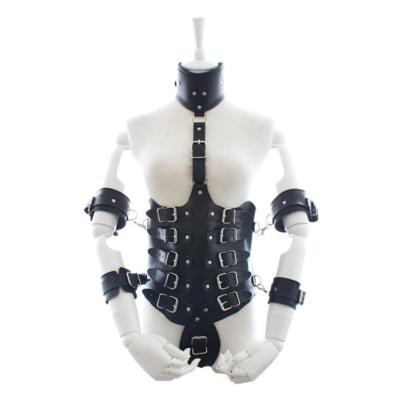 MaryXiong PU Leather Collar Corselet Arm Cuffs Bodysuit Erotic Clubwear Body Harness BDSM Bondage Restraints Sex Toys Products stand collar metallic bodysuit