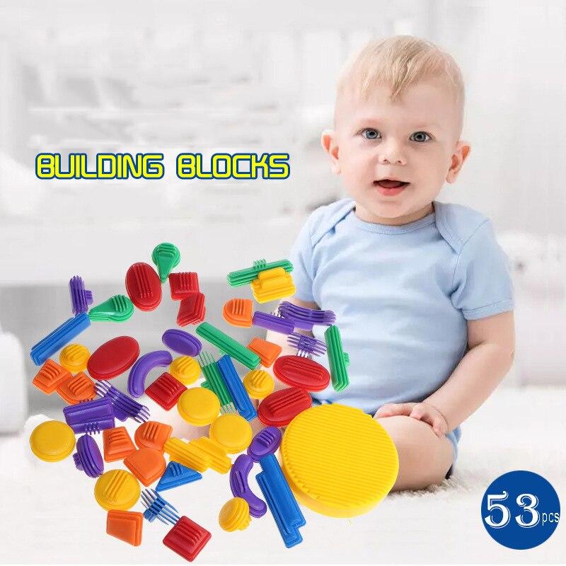 53PCS Colorful 3D Woooden Building Blocks Educational ...