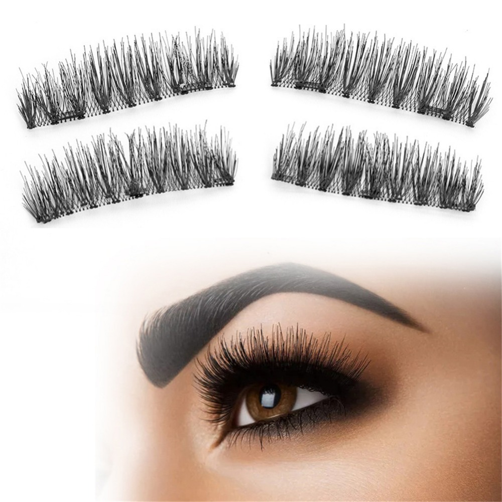 4Pcs Double Triple Magnets Magnetic Eyelashes Hair Extension Makeup Cosmetics Reusable Invisible Natural Long False Eyelashes