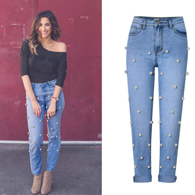 3ea0898e535 High Waist Fashion Streetwear Straight Jeans Women Embroidered Flares Big  Pearl High Street Bleached Vintage Denim Pant Mujer