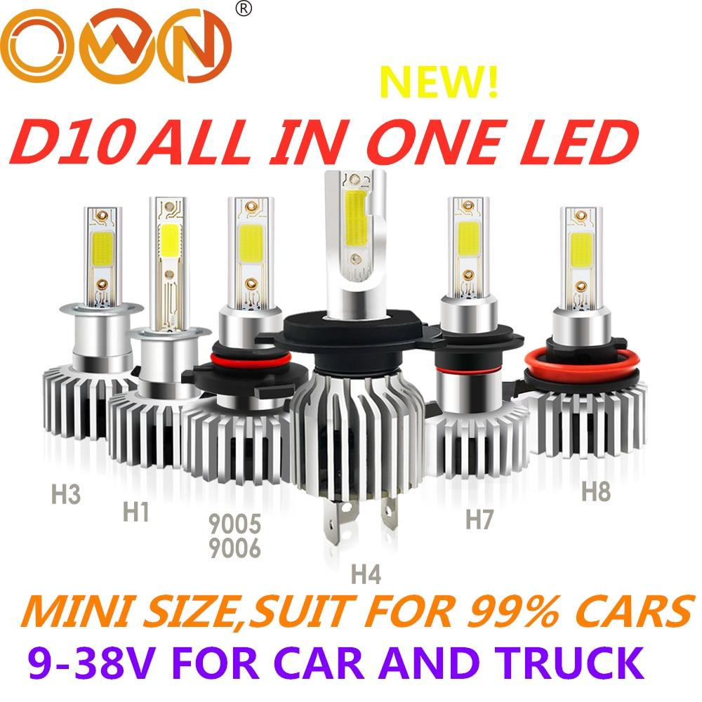 DLAND OWN MINI D10 ALL IN ONE DESIGN CAR LED BULB KIT LIGHTS 60W 6600LM HEADLIGHT 12V 24V C6 LED LAMP H1 H3 H4 H7 9005 H11 D9