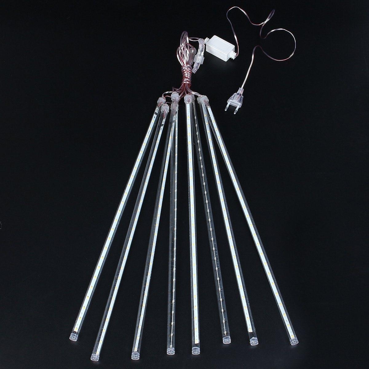 30 Светодиодные ленты свет 50 см 8 трубки метеор декоративный свет Водонепроницаемый свет шнура Теплый Белый ЕС Plug переменного тока 220 В