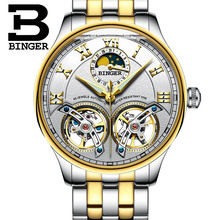 Podwójne Tourbillon Szwajcaria zegarki BINGER Original mężczyźni automatyczny zegarek Self-Wind Fashion Men mechaniczny zegarek na rękę skóra tanie tanio Mechanical Wristwatches 13mm Complete Calendar Moon Phase Water Resistant Skórzane Okrągłe Leatherette 3Bar B-8606B Hardlex