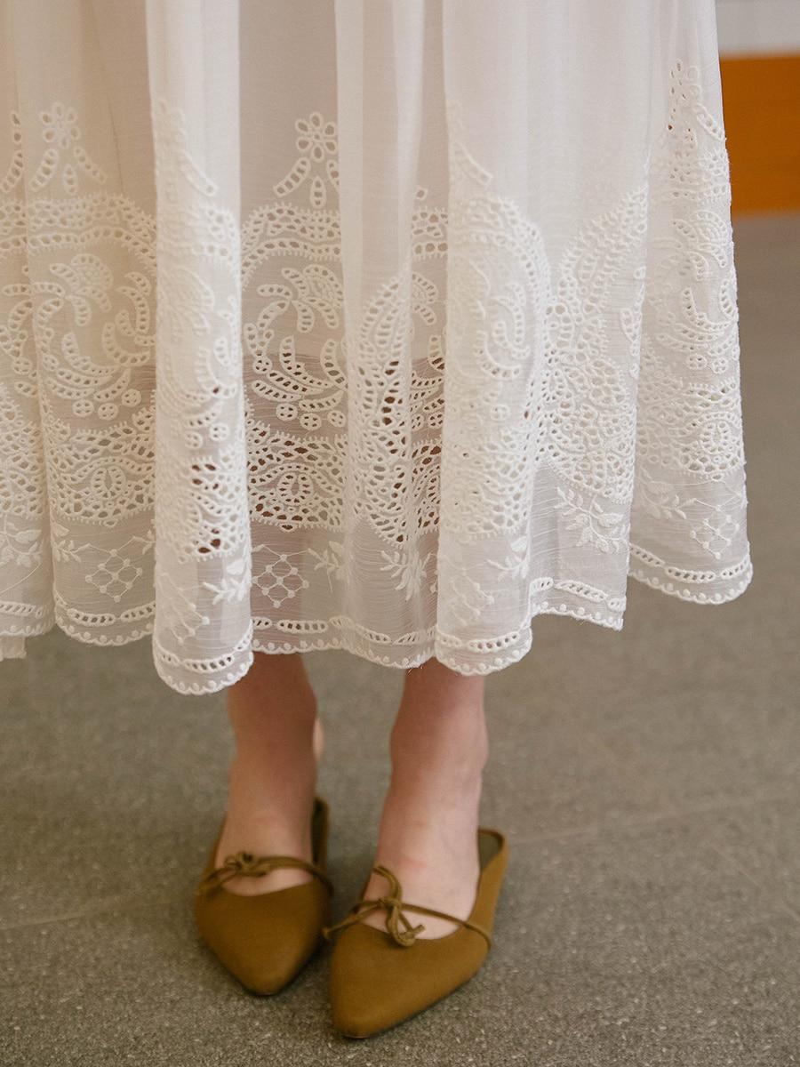 LYNETTE'S CHINOISERIE été femmes exquise broderie vacances élégante fée doux blanc Long sans manches robes de réservoir