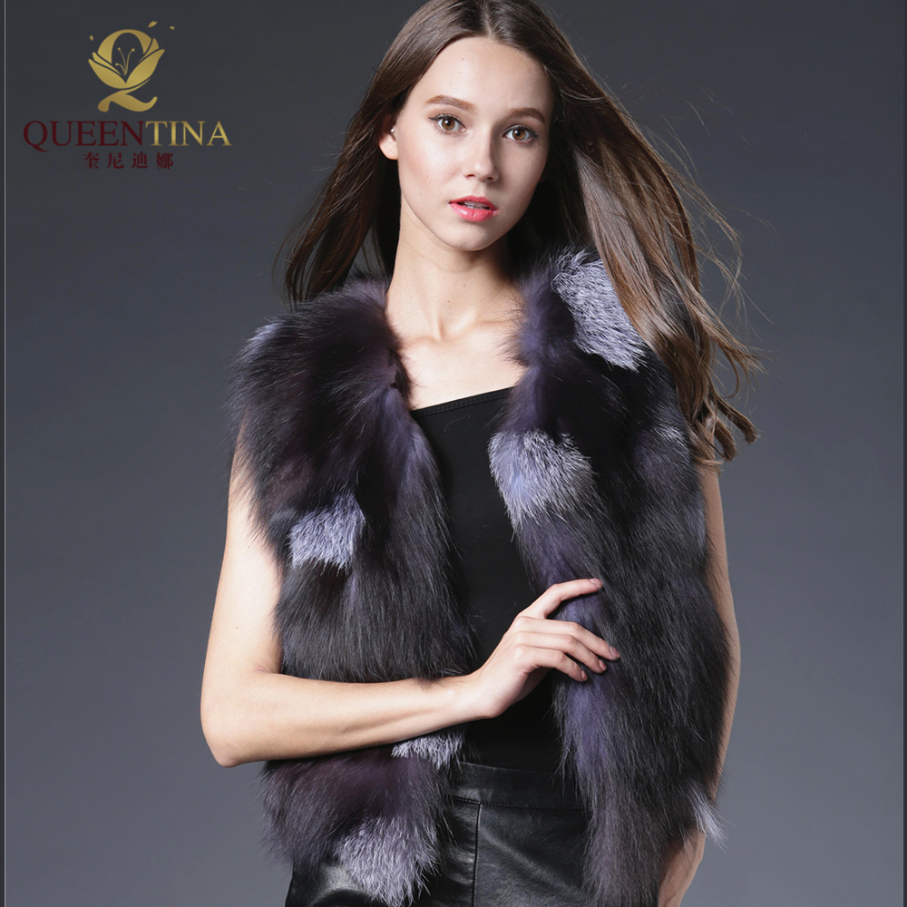 Hot Sale Real Fox Fur Vest Luxury Brand Women Outwear Coat Jacket Natural Silver Fur Vests Waistcoat Genuine Spell Fox Fur Gilet