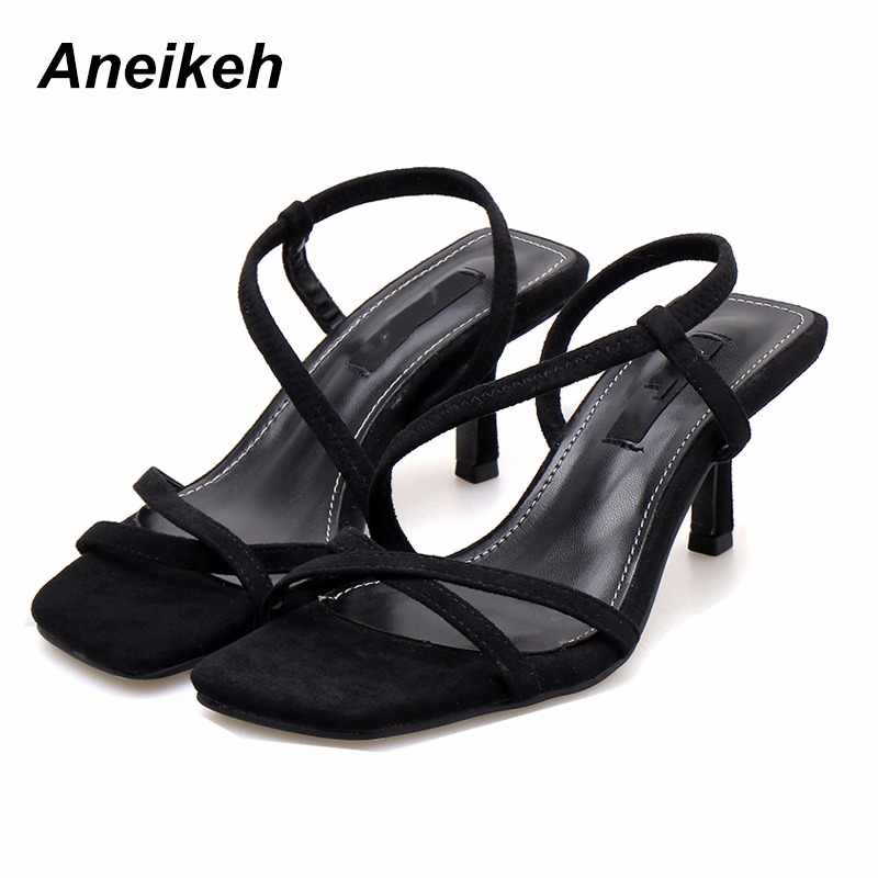 Aneikeh 2019 Flock Fashion Sexy Sandals Women Summer Thin High Heel Women's Shoes Open Toe Black  Solid Office Career Size 35-40