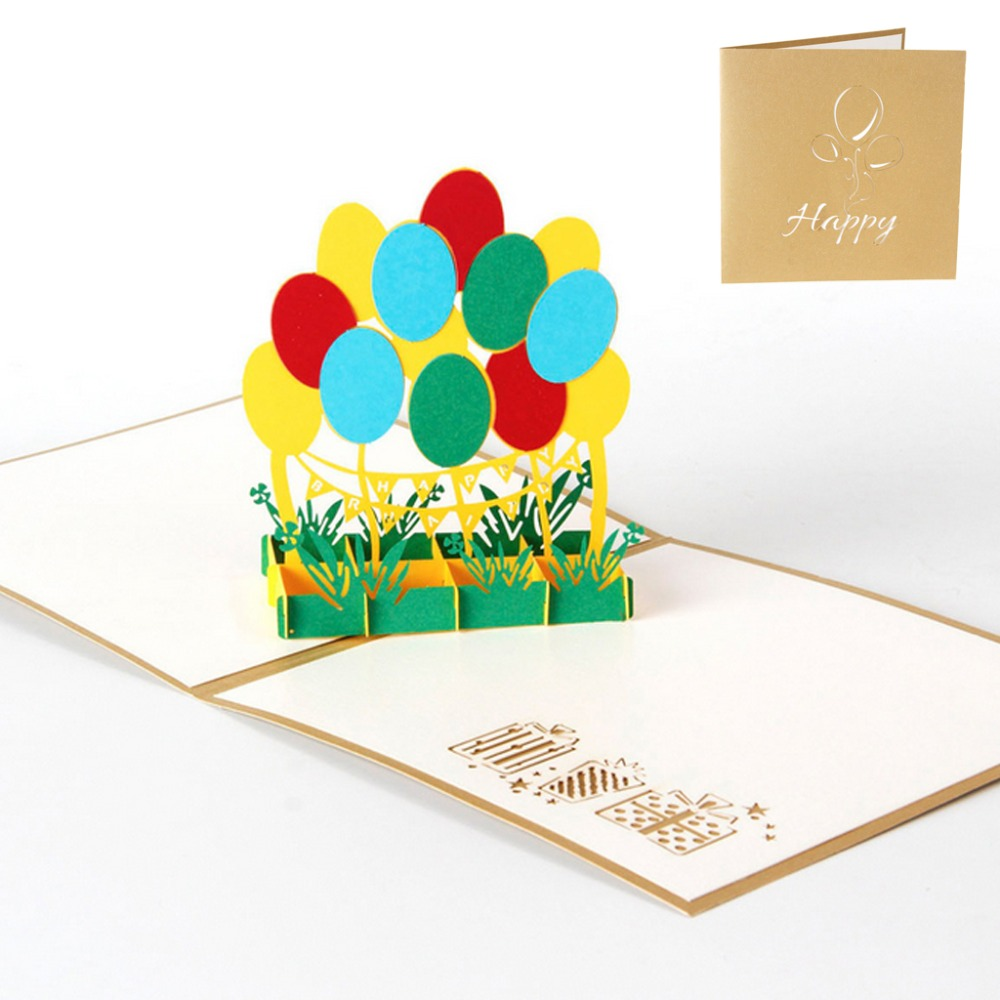 3D Pop Up Colorful Balloon Greeting Card Christmas Valentine Birthday Invitation -Y102 music card spiral pop up musical notes 3d card music instruments pop up card bday pop up card