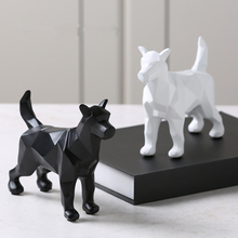 Creativity Geometric Origami Animal Resin Statue Black&White Dog Desktop Crafts Sculpture Home Decoration Accessories Figurine