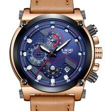 Relojes Hombre 2018 LIGE para Hombre, Relojes deportivos de lujo de marca superior para Hombre, reloj de negocios a la moda para Hombre, reloj de pulsera de cuarzo de cuero para Hombre
