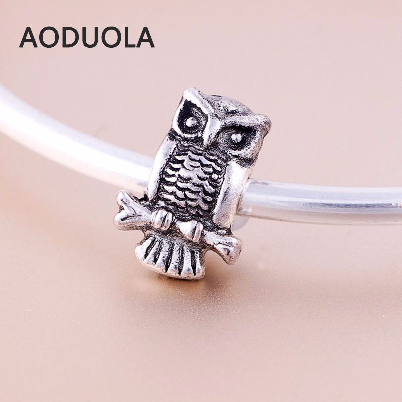 10 Pcs a Lot Alloy Beads Spot Round  DIY Owl Beads Spacer Murano Chunky Bead Charm Fit For Pandora Charms Bracelet