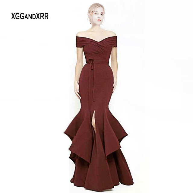 Sexy Burgundy Mermaid Prom Dresses V Neck Backless Front Slit Long Elegant Evening Dress Formal Party Gowns Red Celebrity Gown
