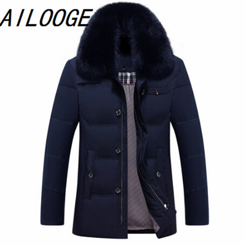 AILOOGE Winter Business Mens Down Hot Design Long Sleeve Warm Coat Cotton-padded Slim Fit Men Thicken Casaco Masculino Parkas