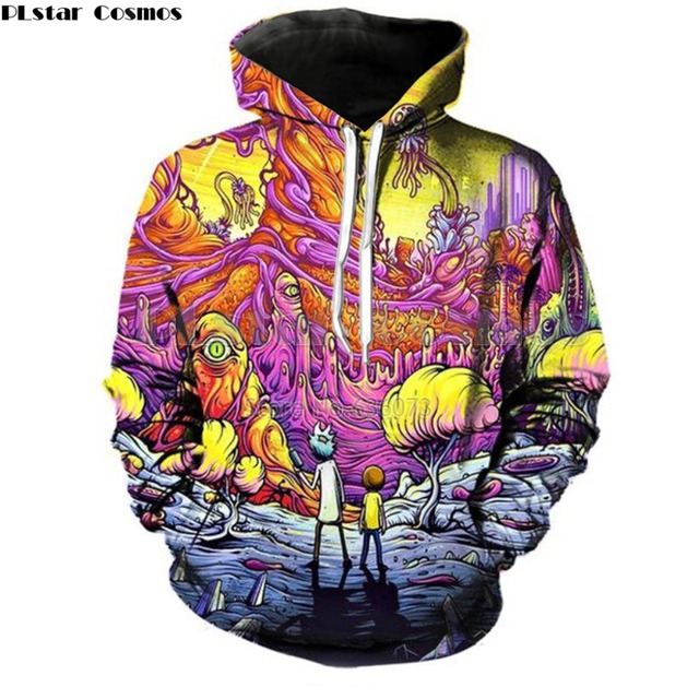 PLstar Cosmos 2018 New Fashion Cartoon Hoodies Men/Women 3d Sweatshirts Print Rick and Morty casual Hoodies Tracksuits
