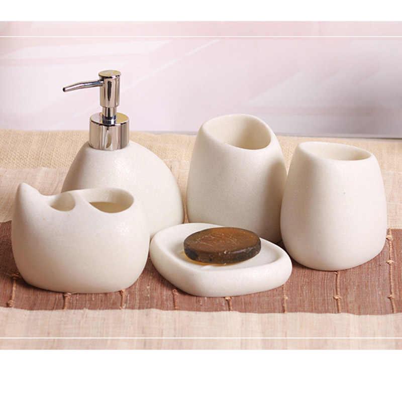 5 sztuk/zestaw akcesoria łazienkowe żywicy brukowiec projekt butelka lateksowa zębów mydło ze szkła szczoteczka do zębów uchwyt Home Decoration RT99