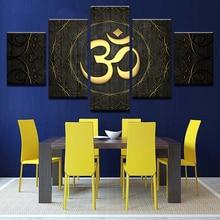 Nowoczesne płótno Wall Art HD drukuje plakat 5-częściowy Budda OM Joga Malowanie Golden Symbol Zdjęcia Home Decor dla pokoju dziennego