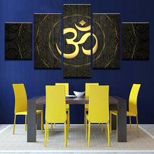 Modern Art Canvas Wall Art Prints HD Poster 5 Pieces Buddha OM Yoga Pictura Golden Symbol Pictures Home Decor Pentru Camera de Zi