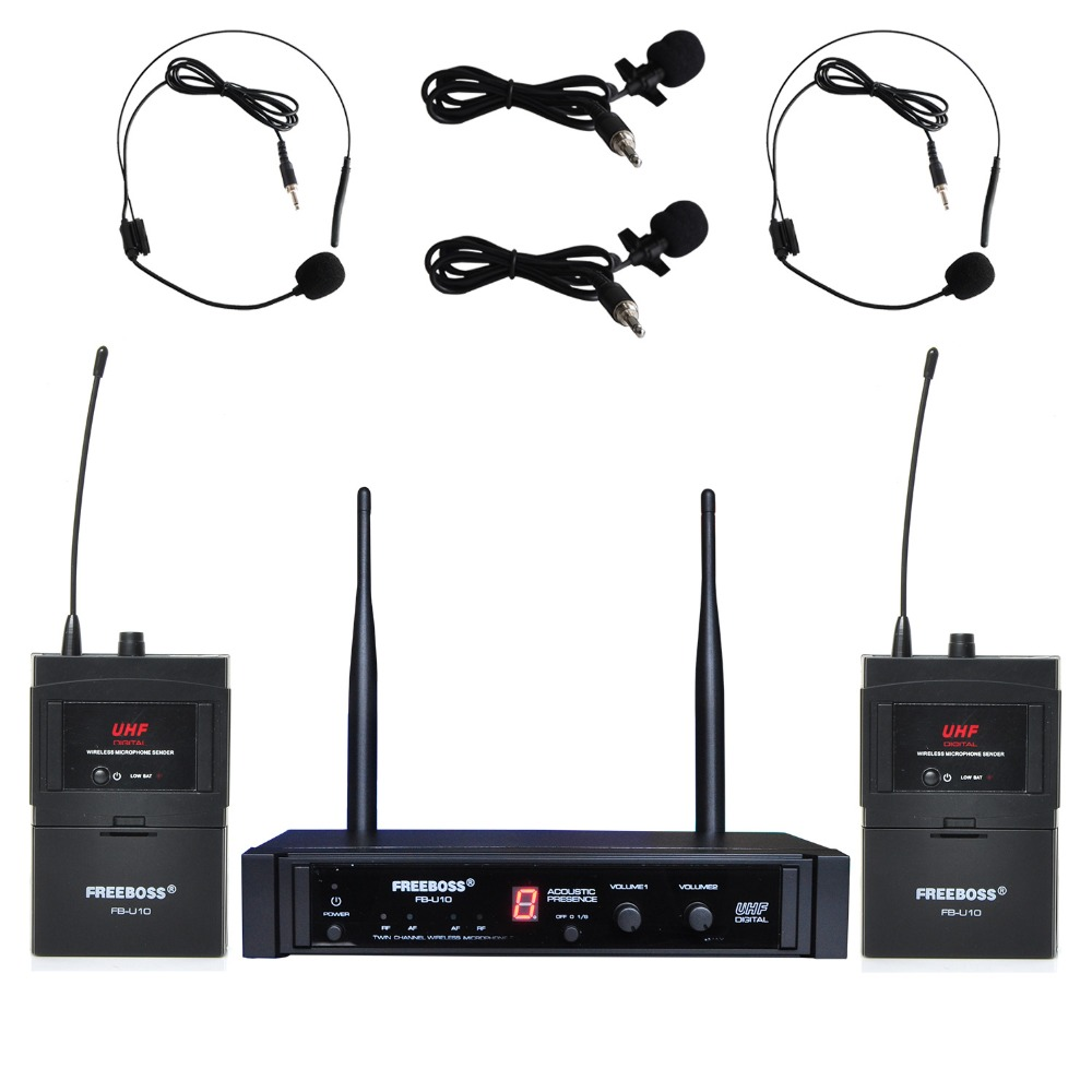 Freeboss FB-U10H2 Dual Way Digital UHF Wireless Microphone with 2 Lapel 2 Headset microphone 2 Bodypack Transmitter free shipping uhf professional sx 14 wireless microphone system with bodypack headset microphone band j3 572 596mhz