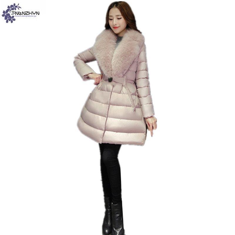 TNLNZHYN winter Women clothing cotton coat fashion High end thicken warm Long sleeve fur collar female cotton Outerwear QQ179