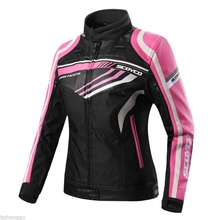 Free shipping 1pcs Genuine Women Summer Outdoor Breathable Motorcycle Jacket Pink Protect Clothes With 5pcs pads