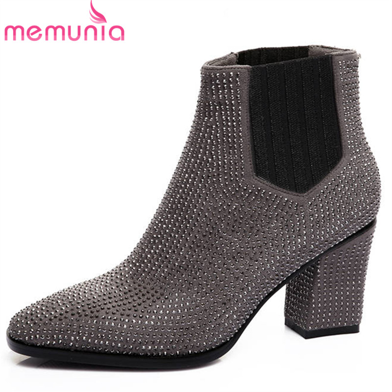 MEMUNIA 2018 new arrival suede leather ankle boots women slip on crystal autumn winter boots high heels dress shoes woman brand new suede leather women platform boots famous designer high heels dress shoes woman gladiator luxury women ankle boots