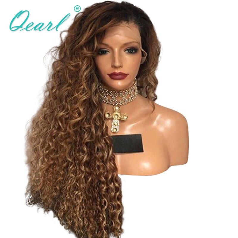 200%/250% grubości gęstości koronki przodu peruka brazylijski perwersyjne kręcone Remy włosy peruki z ludzkich włosów Ombre kolor dla kobiet 13x4 Pre oskubane Qearl w Peruki z ludzkich włosów na siatce od Przedłużanie włosów i peruki na AliExpress - 11.11_Double 11Singles' Day 1