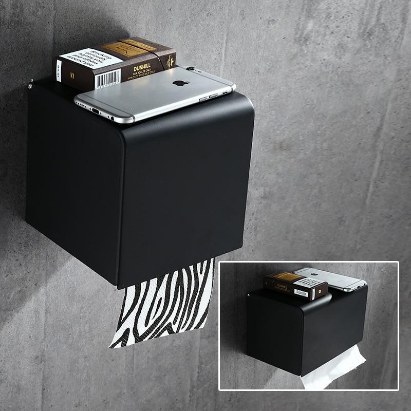 Bathroom Paper Holder Aluminum Black Bathroom Paper Roll Holder Brief Tissue Holder Box  Rack Toilet Paper Holder Tissue Boxes