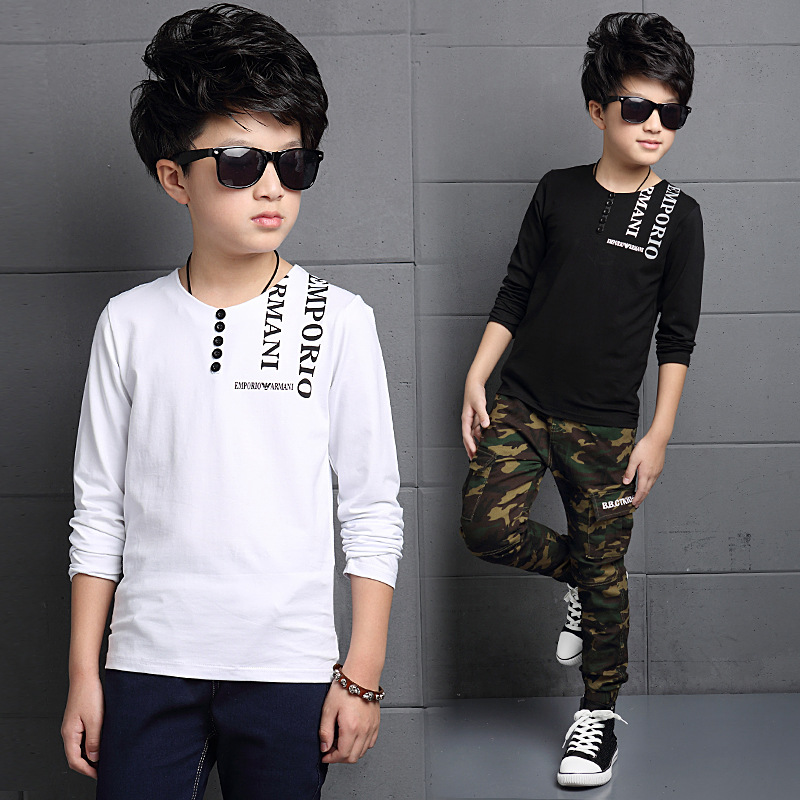 Fashion Letter Spring Autumn Boys T shirts Long Sleeve O Neck Teenager Tops Cotton Clothings Children