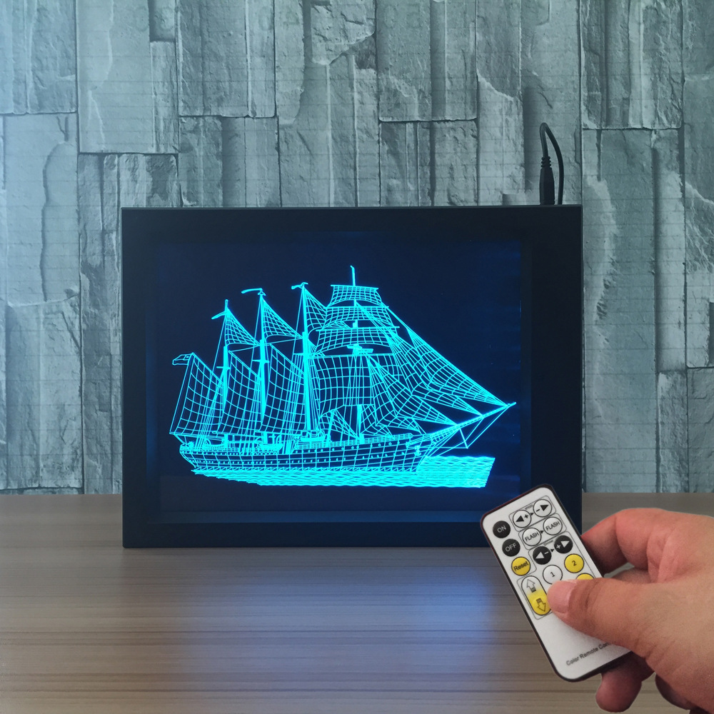 Sailing Ship Boat Photo Frame Lamp Remote Control 7 Colors Change USB LED Night Light 3D Desk Lamp Home Decor Kids Bedroom Light icoco usb rechargeable led magnetic foldable wooden book lamp night light desk lamp for christmas gift home decor s m l size