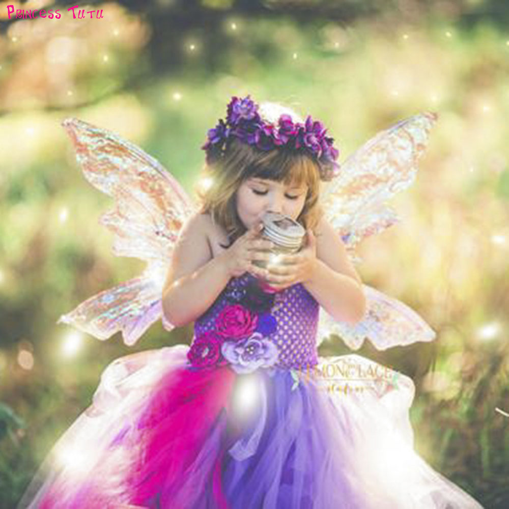 Purple Pink Tinkerbell Tutu Dress Lovely Beauty Fairy Butterfly Princess Girl Flower Dresses For Birthday Wedding Party Photos tutu 23 beauty moisture lipstick pink 3 8g