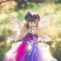 Purple Pink Tinkerbell Tutu Dress Lovely Beauty Fairy Butterfly Princess Girl Flower Dresses For Birthday Wedding Party Photos