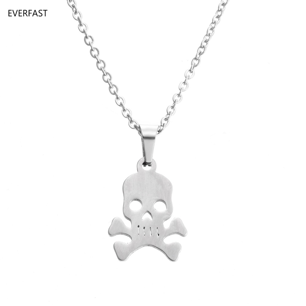 Everfast 1pc Pirates of the Caribbean Skeleton Skull Pendant Chokers Stainless Steel Necklaces Women Men Lucky Gift Jewelry
