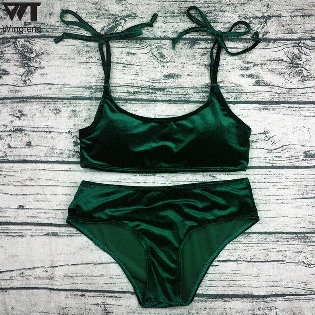 2018 Red Swimwear Female Velvet Bikini Set Bathing Suits Women Thong Bikinis Beach Wear Velvet Swimsuit Maillot De Bain Femme