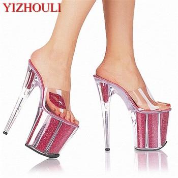 Fully transparent crystal wedding dress sandals 20 cm high heel slippers stylish lips embellished with high heels, slipper