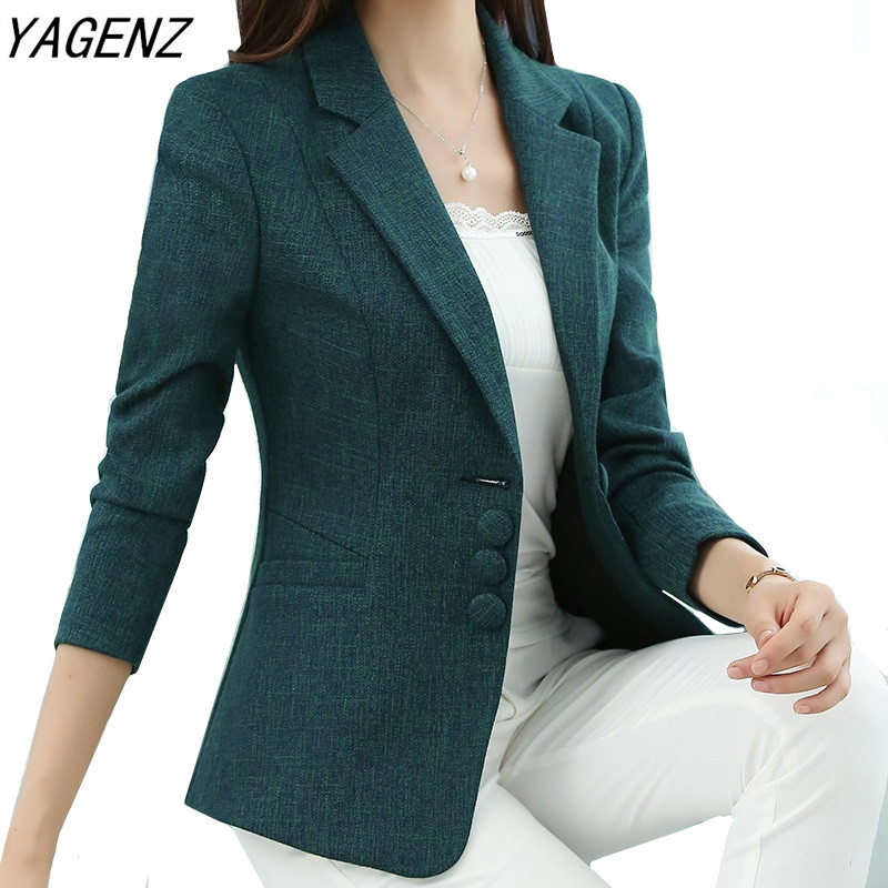 Autumn Spring Women's Blazer Elegant Fashion Lady Blazers Coat Suits Female Slim Office Lady Jacket Casual Tops Plus Size S-5XL