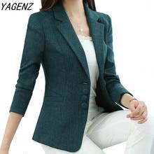 Женский осенне весенний Блейзер, элегантные модные женские блейзеры, облегающий женский офисный жакет, повседневный топ размера плюс, для размера плюс,