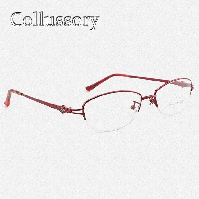 Women\'s Metal Frame Eyeglasses Half Rim Rhinestone Prescription ...