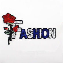 Clothing Women Shirt Top Diy Letters Patch FASHION Sequins deal with it T-shirt girls Rose Patches for clothes Boy Sticker Badge(China)