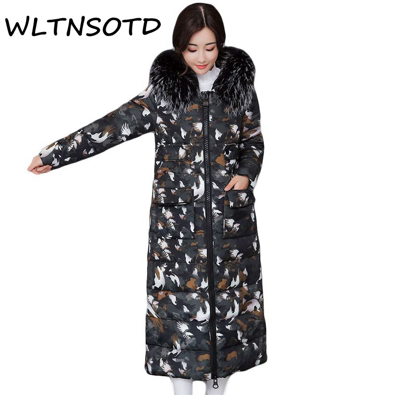 New 2017 women winter Fashion big Fur Collar Hooded Warm Camouflage Parkas jacket Female Thicker Slim printing long cotton coat women winter coat leisure big yards hooded fur collar jacket thick warm cotton parkas new style female students overcoat ok238