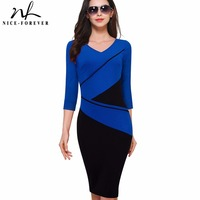 Nice Forever Vintage Elegant Contrast Patchwork Short Sleeve V Neck Bodycon Women Office Wear To Work