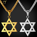 U7 Jewish Jewelry Magen Star of David Pendant Necklace Women Men Chain Gift Gold Plated Stainless Steel Israel Necklace P723
