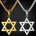 U7 judaica magen estrela de david colar de pingente de jóias mulheres homens cadeia presente banhado a ouro de aço inoxidável colar de israel p723