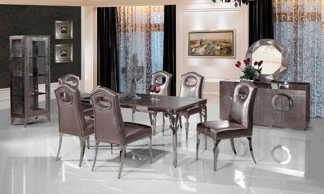 Rvs eettafel voorzien eetkamer set met 6 stoelen lederen wijn kast