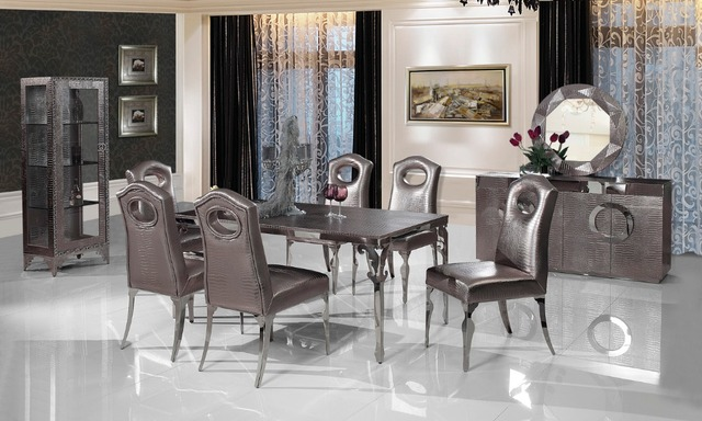stainless steel Dinning table with dining room set with 6 chairs, leather wine cabinet,leather dining sideboard,mirror # CT107