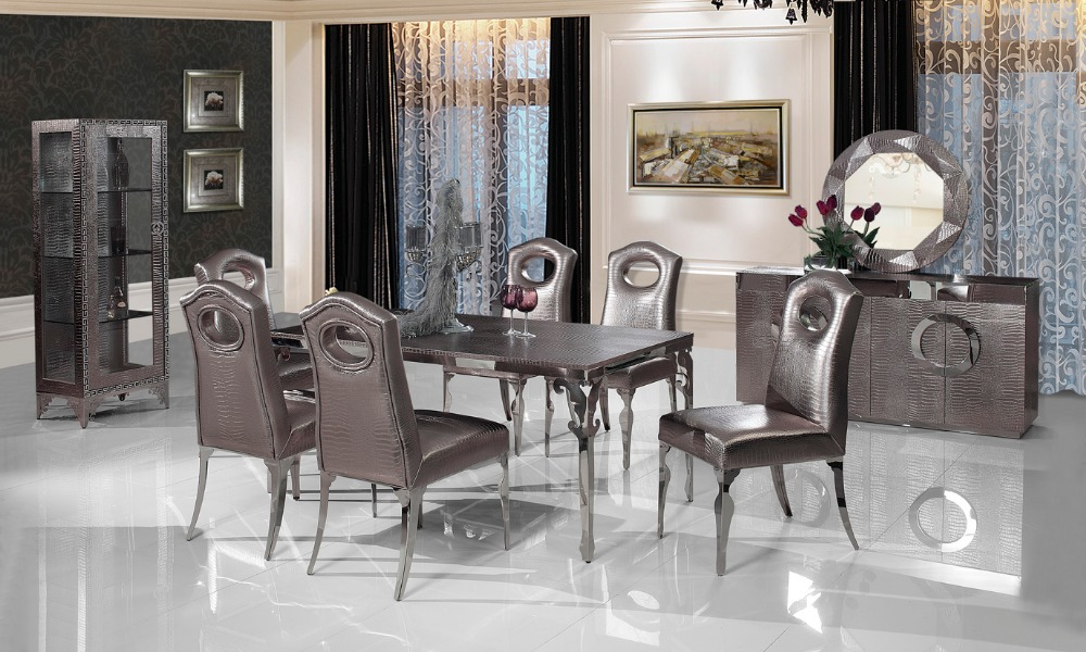 Stainless Steel Dinning Table With Dining Room Set 6 Chairs Leather Wine Cabinet