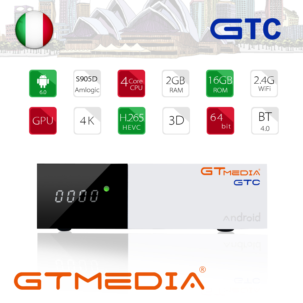 GTmedia GTC Satellite Receiver DVB S2 DVB C DVB T2 ISDB T Amlogic S905D android 6.0 TV BOX 2GB RAM 16GB ROM BT4.0 Freesat GTC-in Satellite TV Receiver from Consumer Electronics