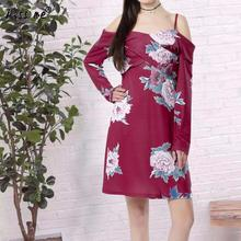 Plus Size Dress Print Floral Ladies Robe Off Shoulder Dress Long Sleeve Halter Robe Spring Summer Women Cloting Red Colors(China)