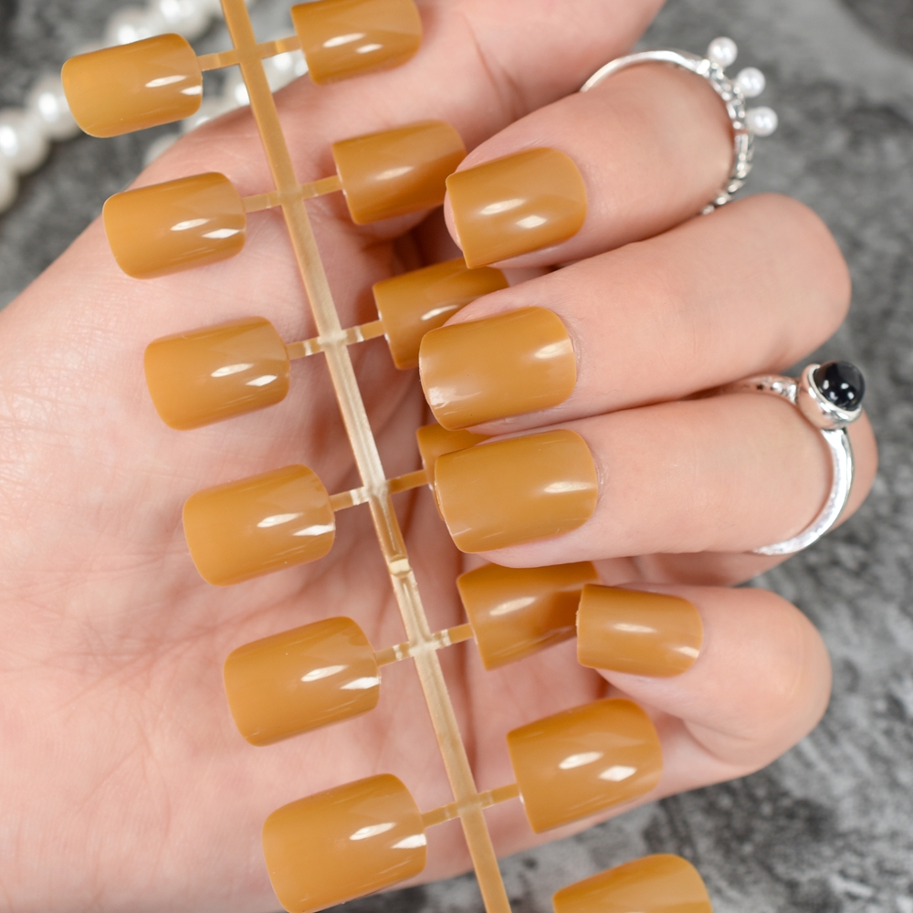 Candy Apricot Orange Solid Color False Nails Round Square Fake Nail ...